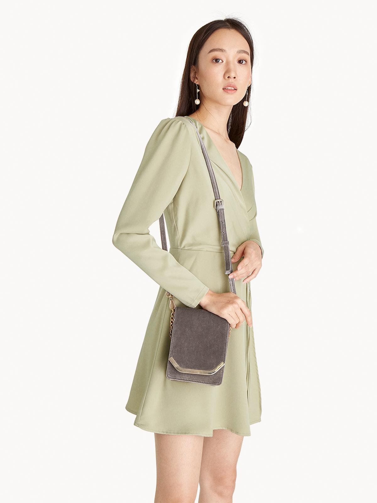 Velvet Foldover Cross Body Bag Gray