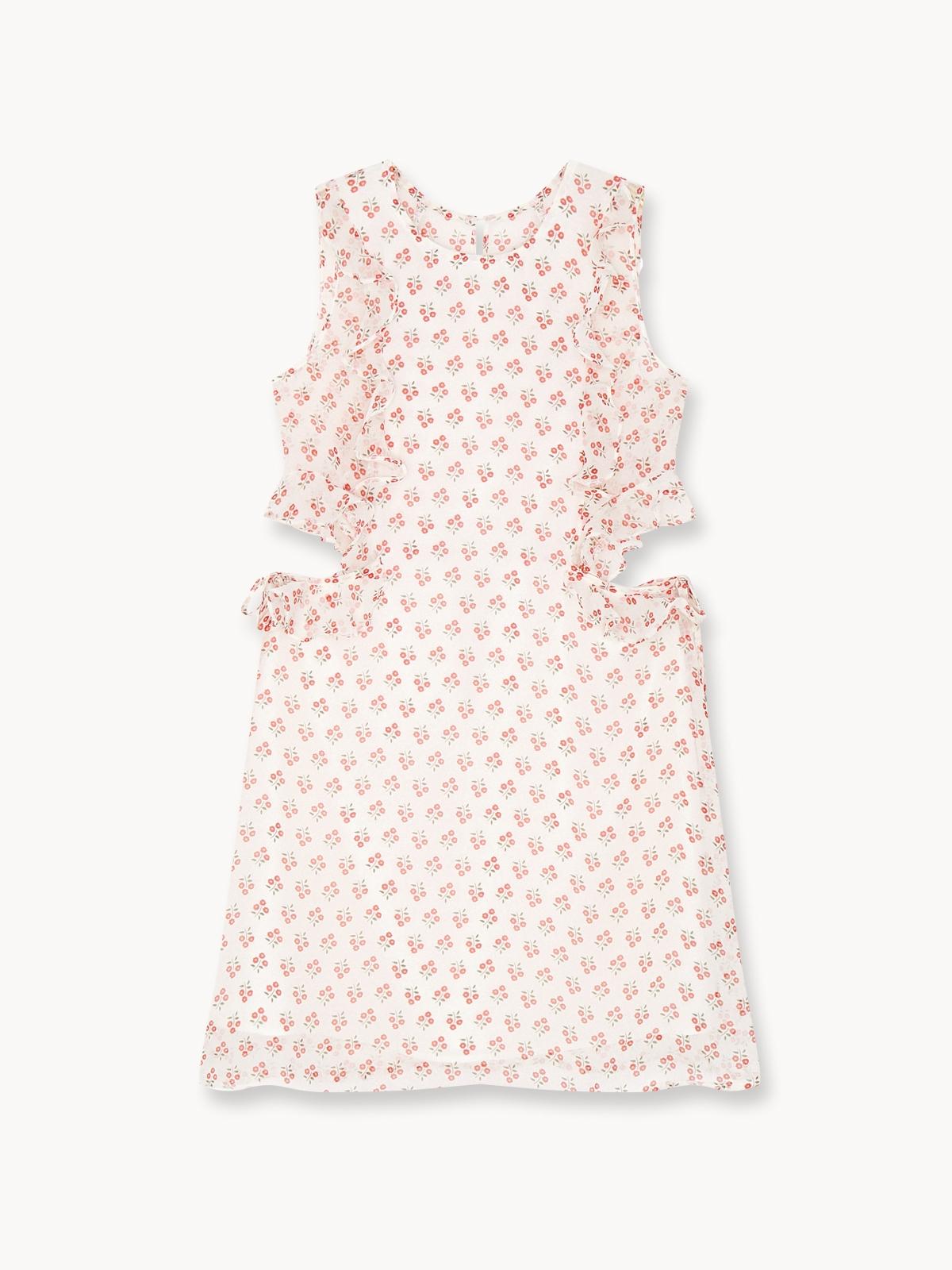 Mini Side Cut Out Striped Dress White