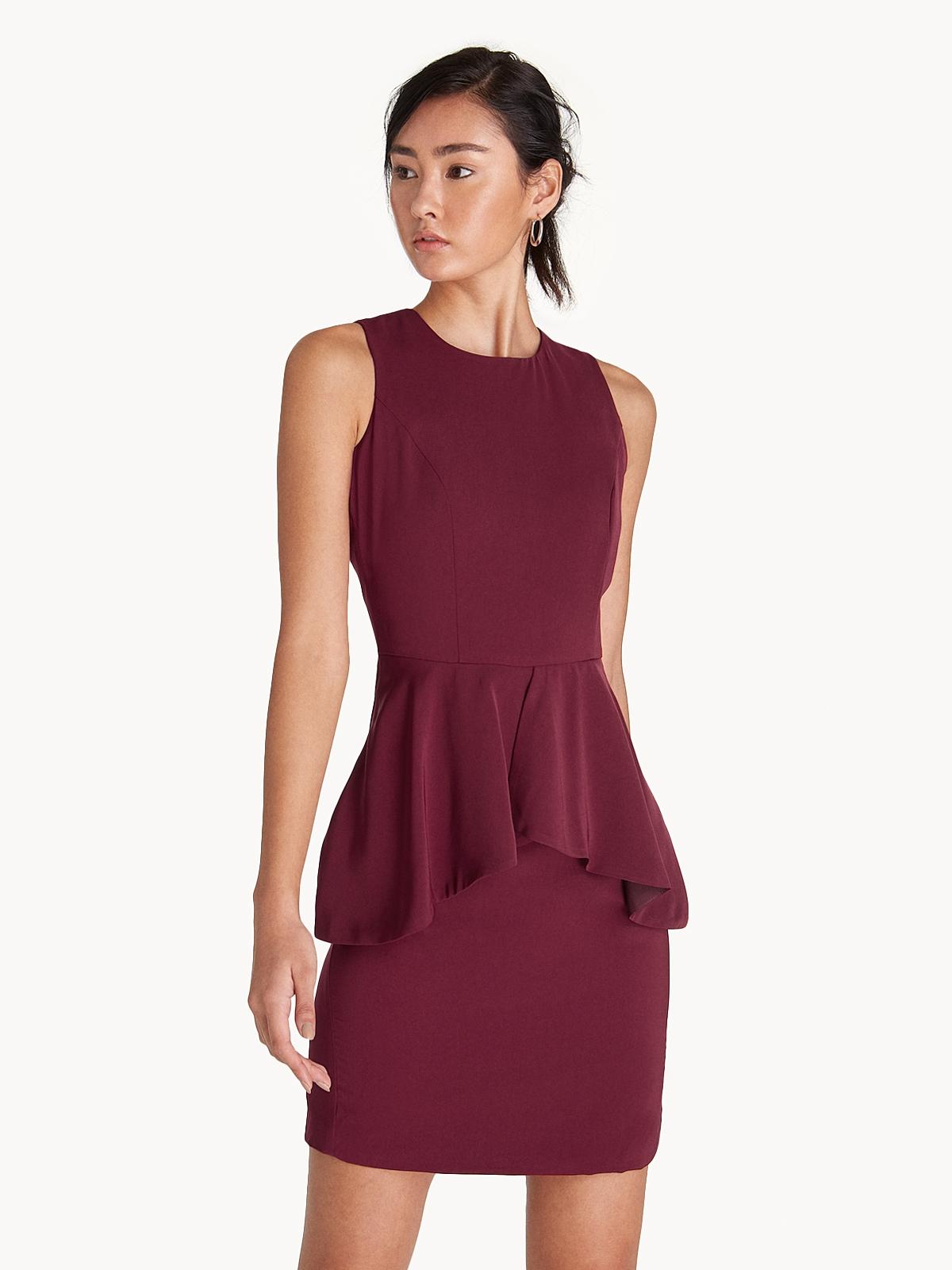 Mini Sleeveless Peplum Dress Red