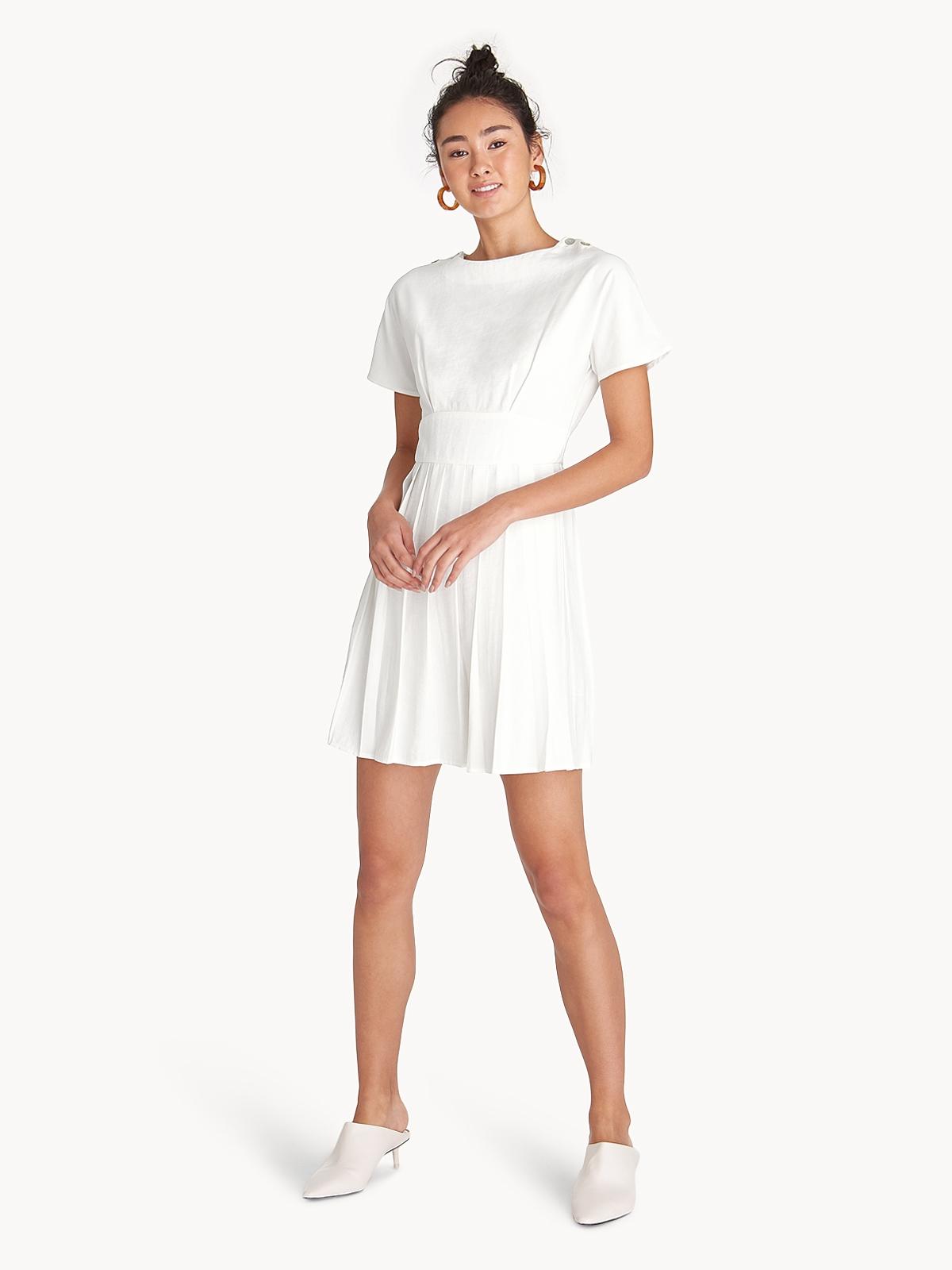Mini Pleated A Line Dress White