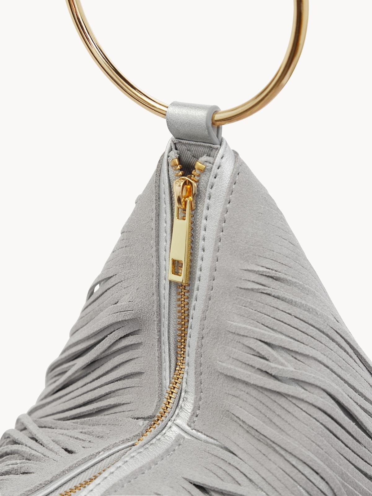 Layered Fringe Round Handle Bag Grey