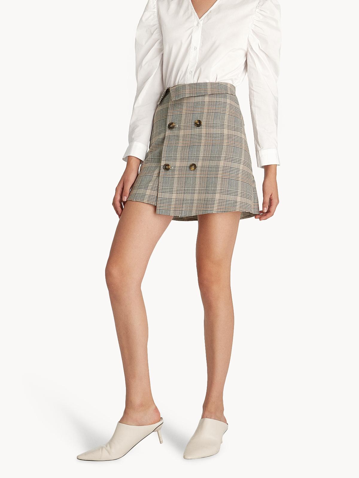 Mini Glen Plaid Double Button Skirt