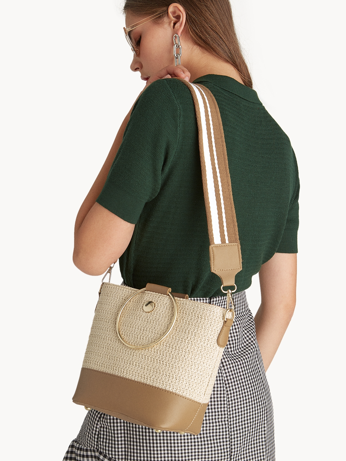 Woven Cross Body Bucket Bag