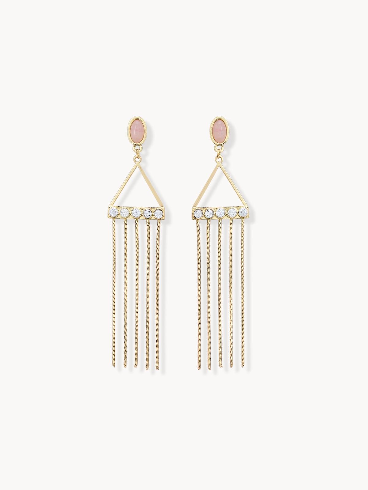 Triangle Chain Tassel Earrings Gold