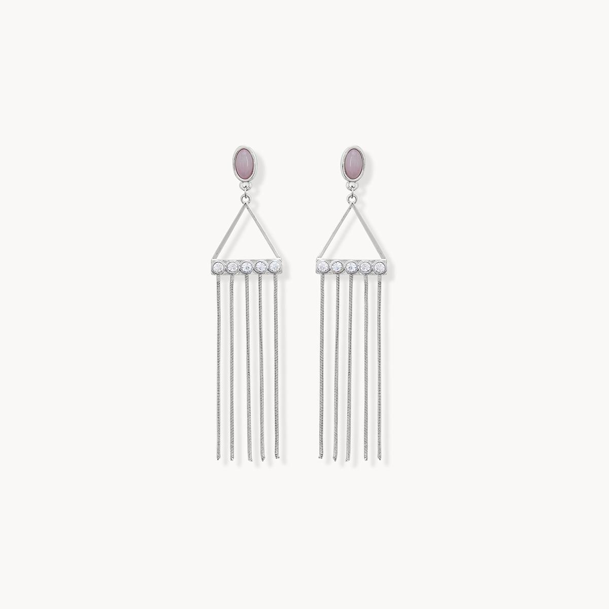 Triangle Chain Tassel Earrings Silver