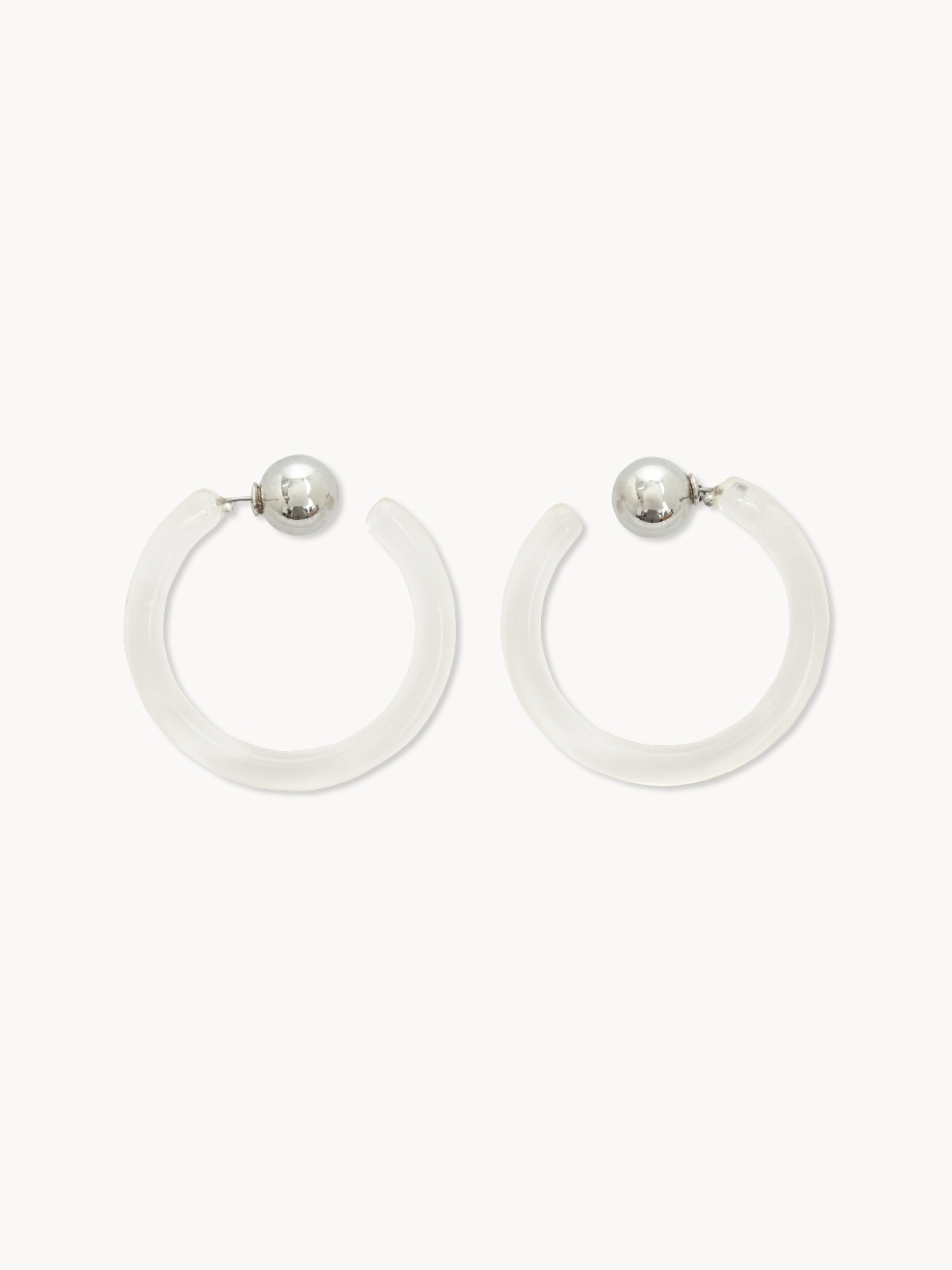 Clear Acrylic Circular Hoop Earrings Silver