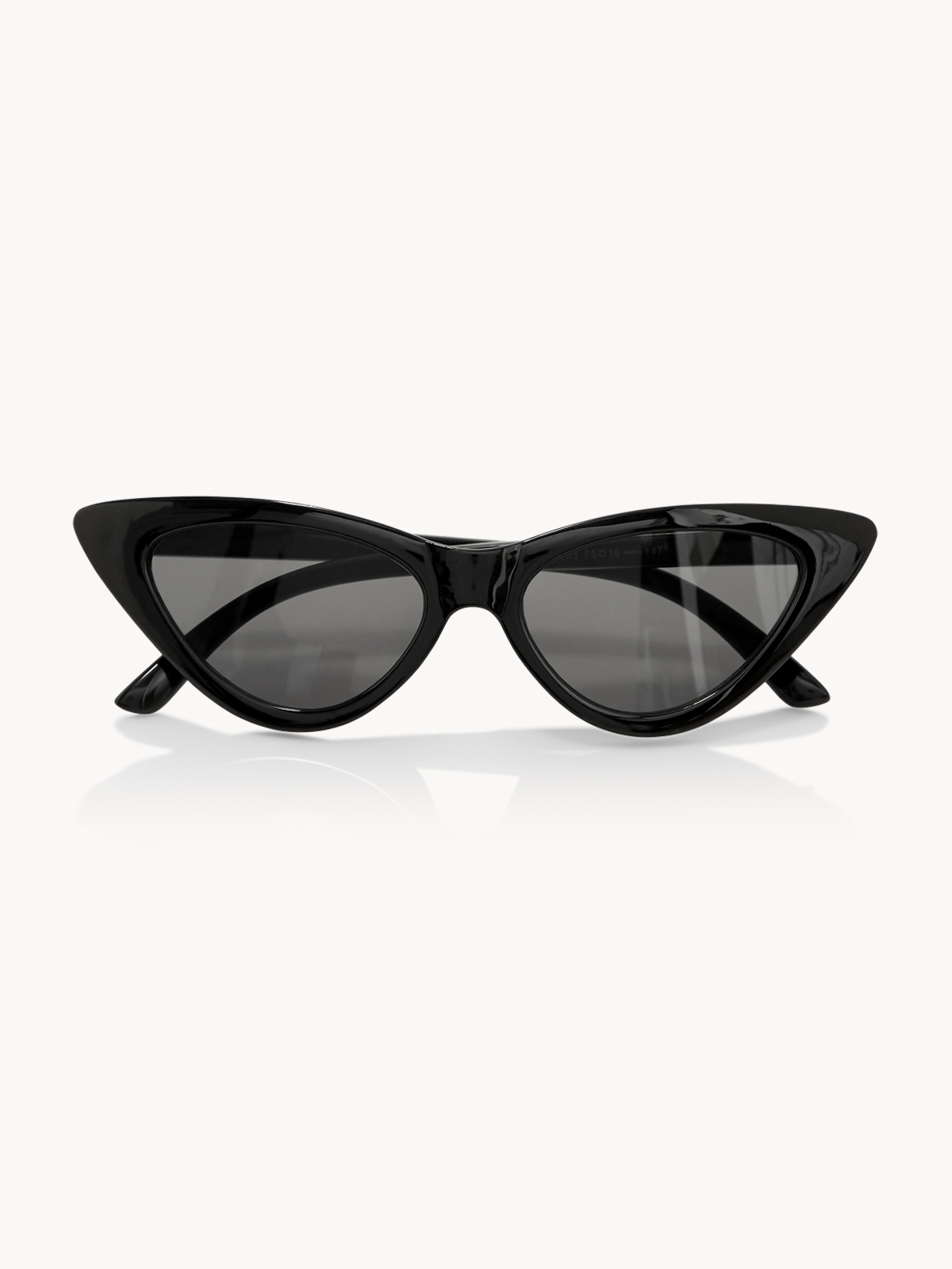 Reflective Lens Cat Eye Sunglasses Black