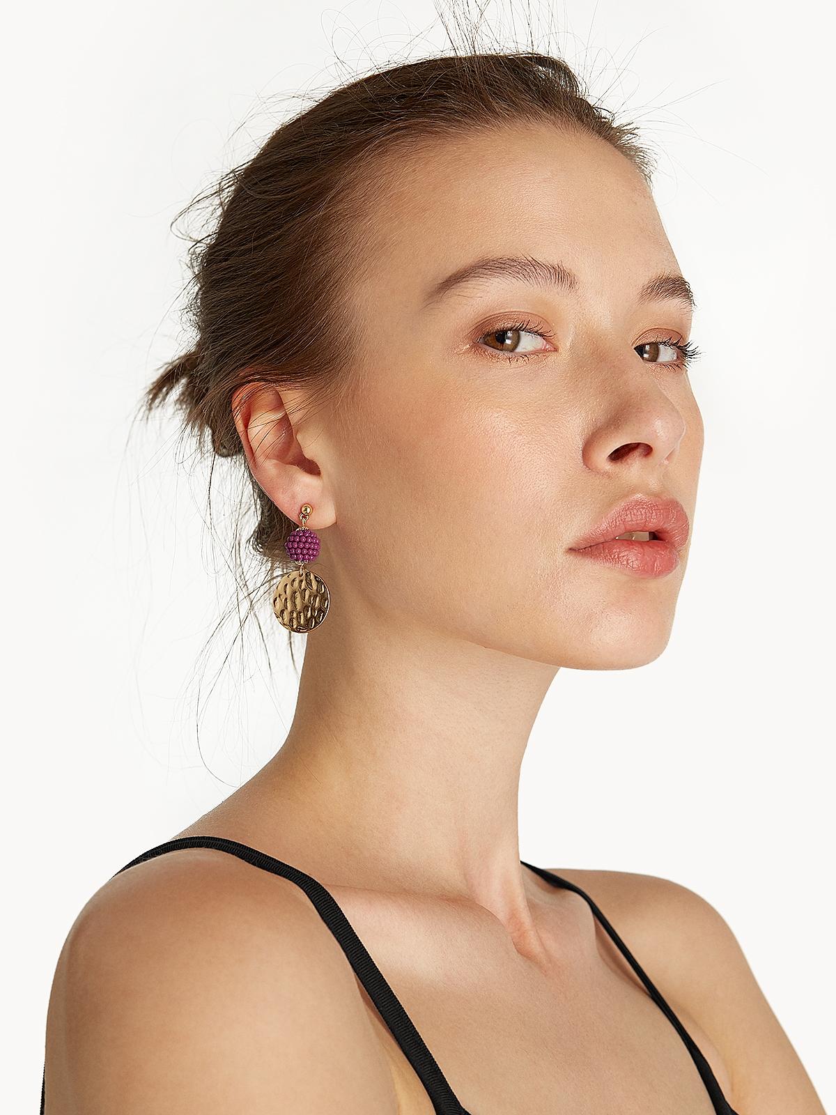Mini Ball Plate Drop Earrings Gold