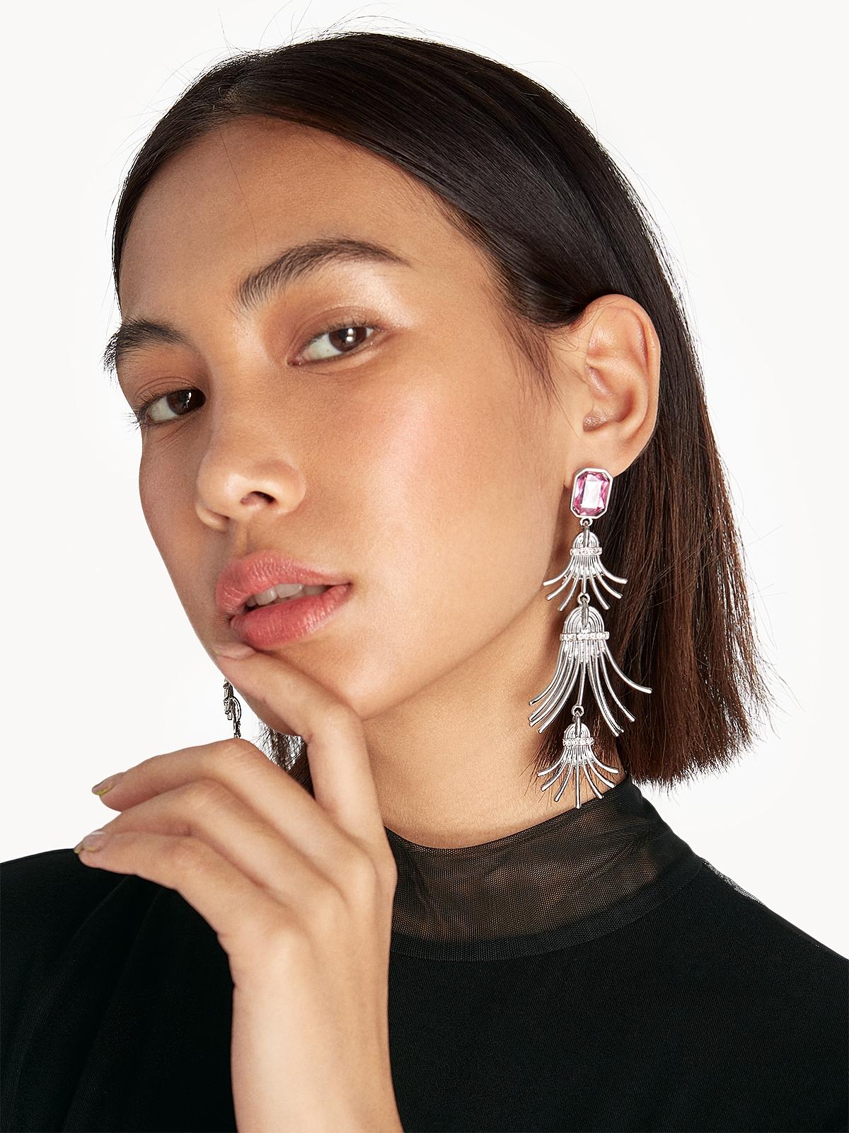 Flared Triple Drop Earrings Silver