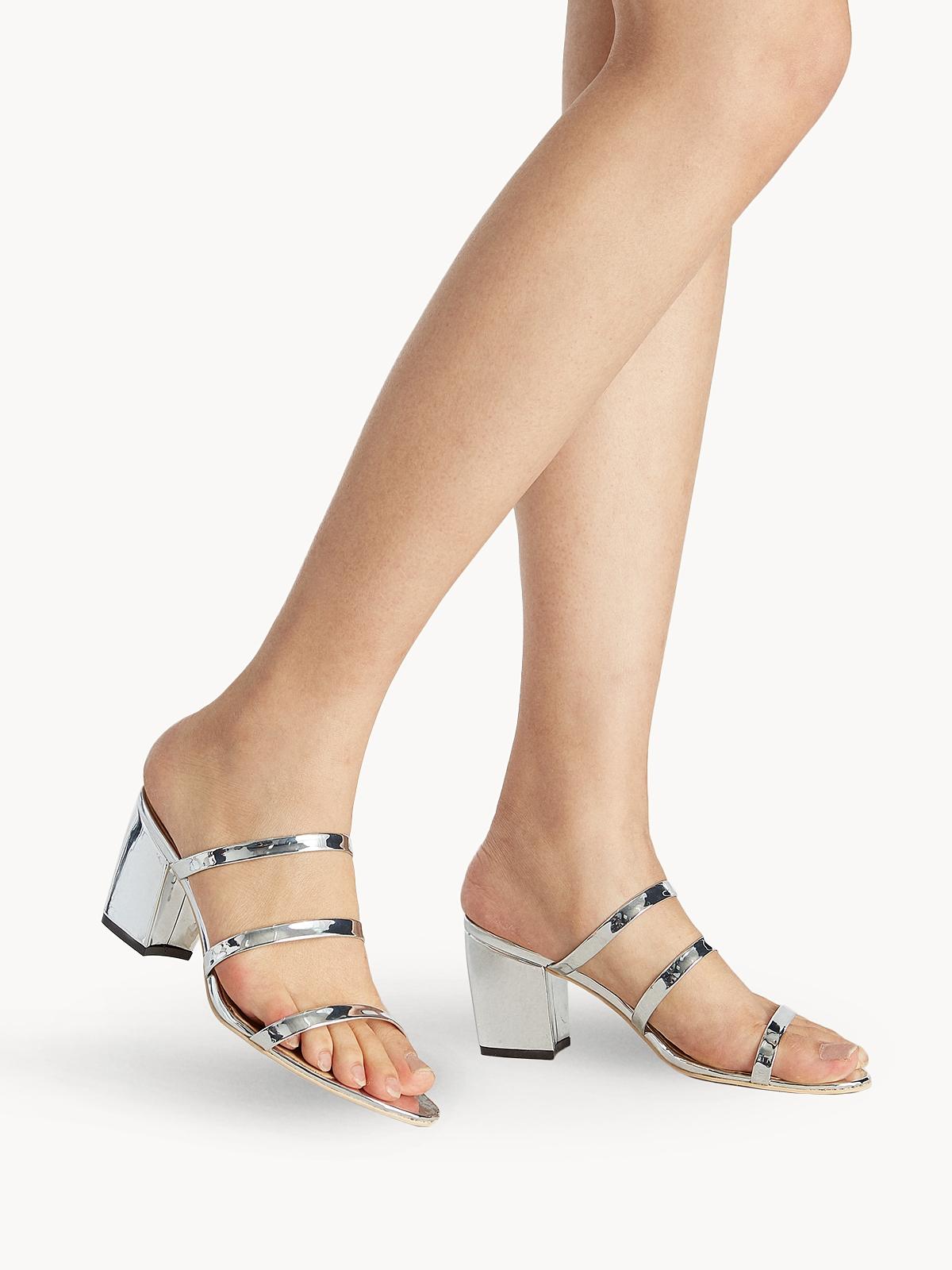 Tri Strap Mule Heels Silver
