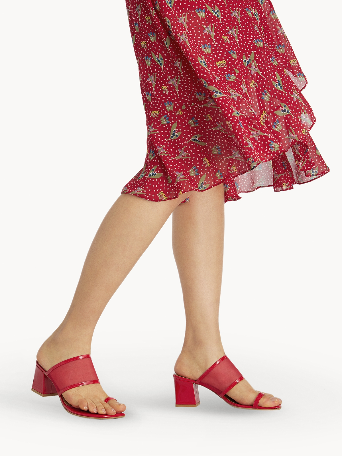 Prove Toe Ring Heeled Sandals Red