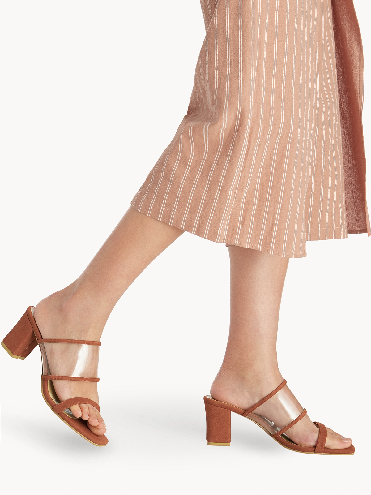 P02 Clear Strap Block Heels Orange