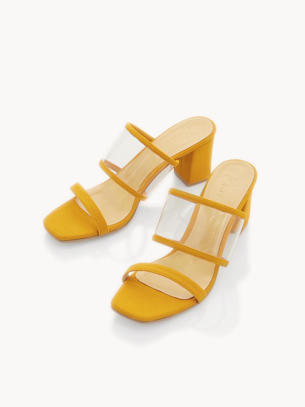 P02 Clear Strap Block Heels Mustard