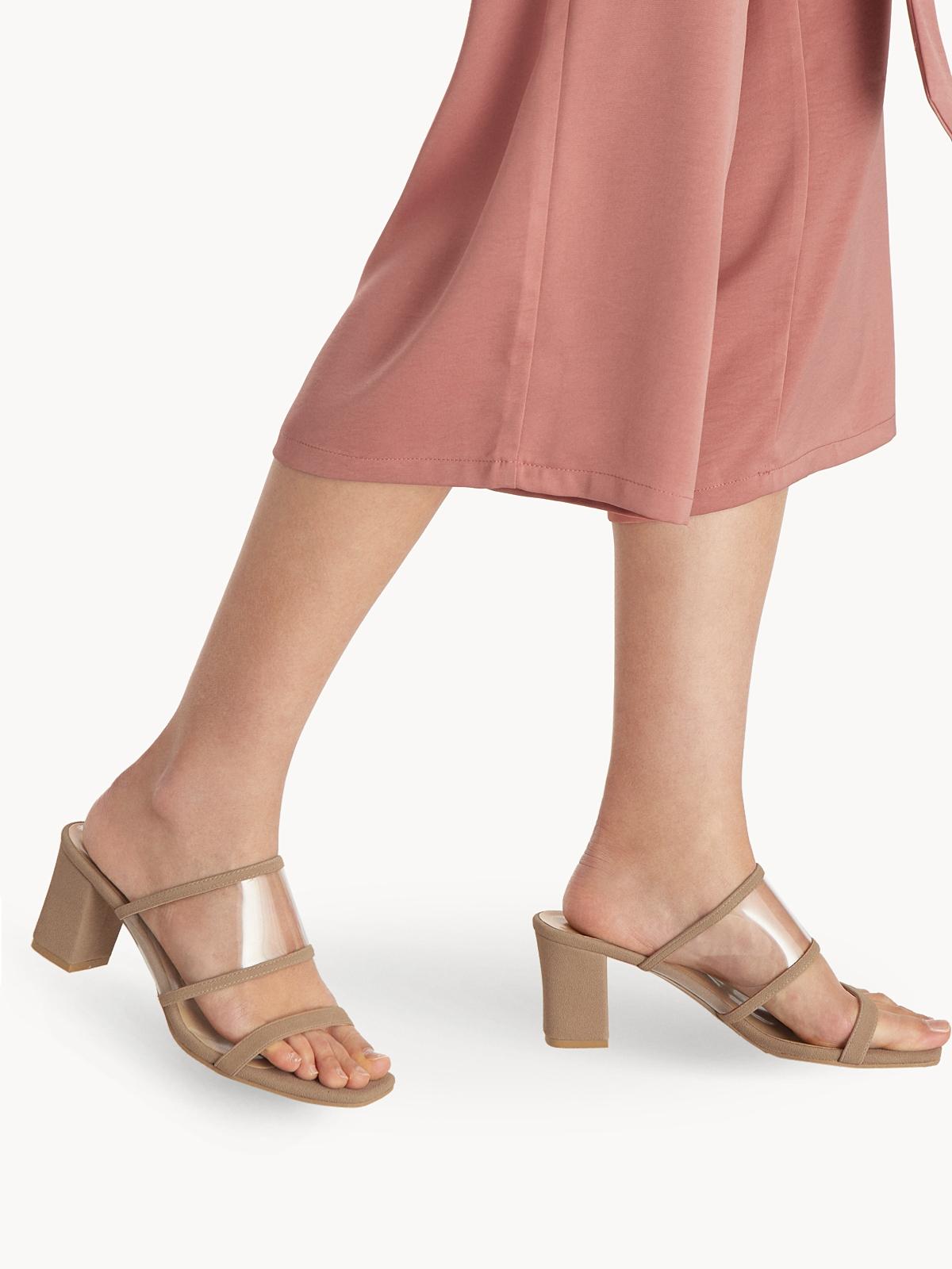 P02 Clear Strap Block Heels Beige
