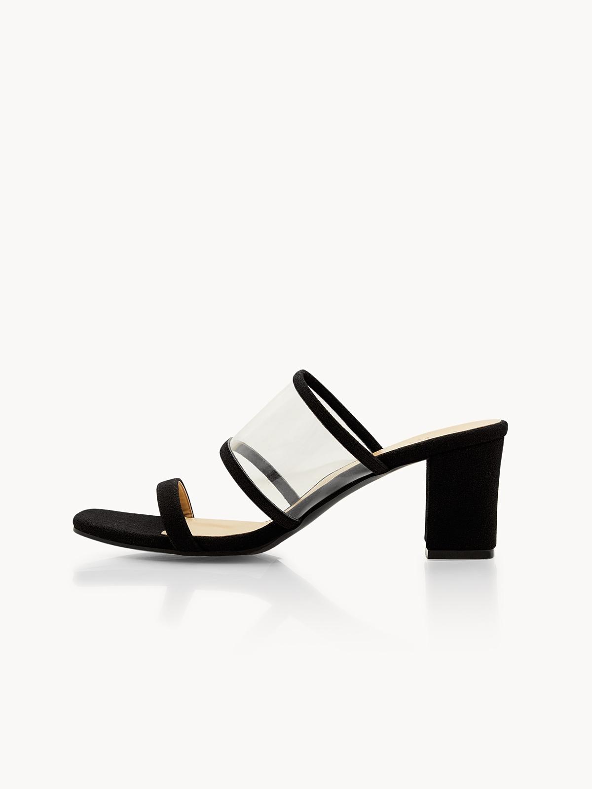 P02 Clear Strap Block Heels Black
