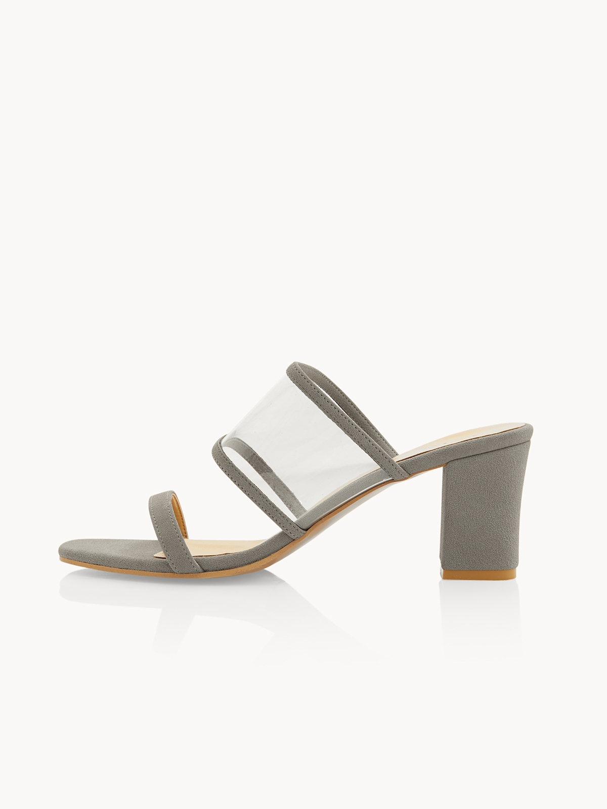 P02 Clear Strap Block Heels Grey