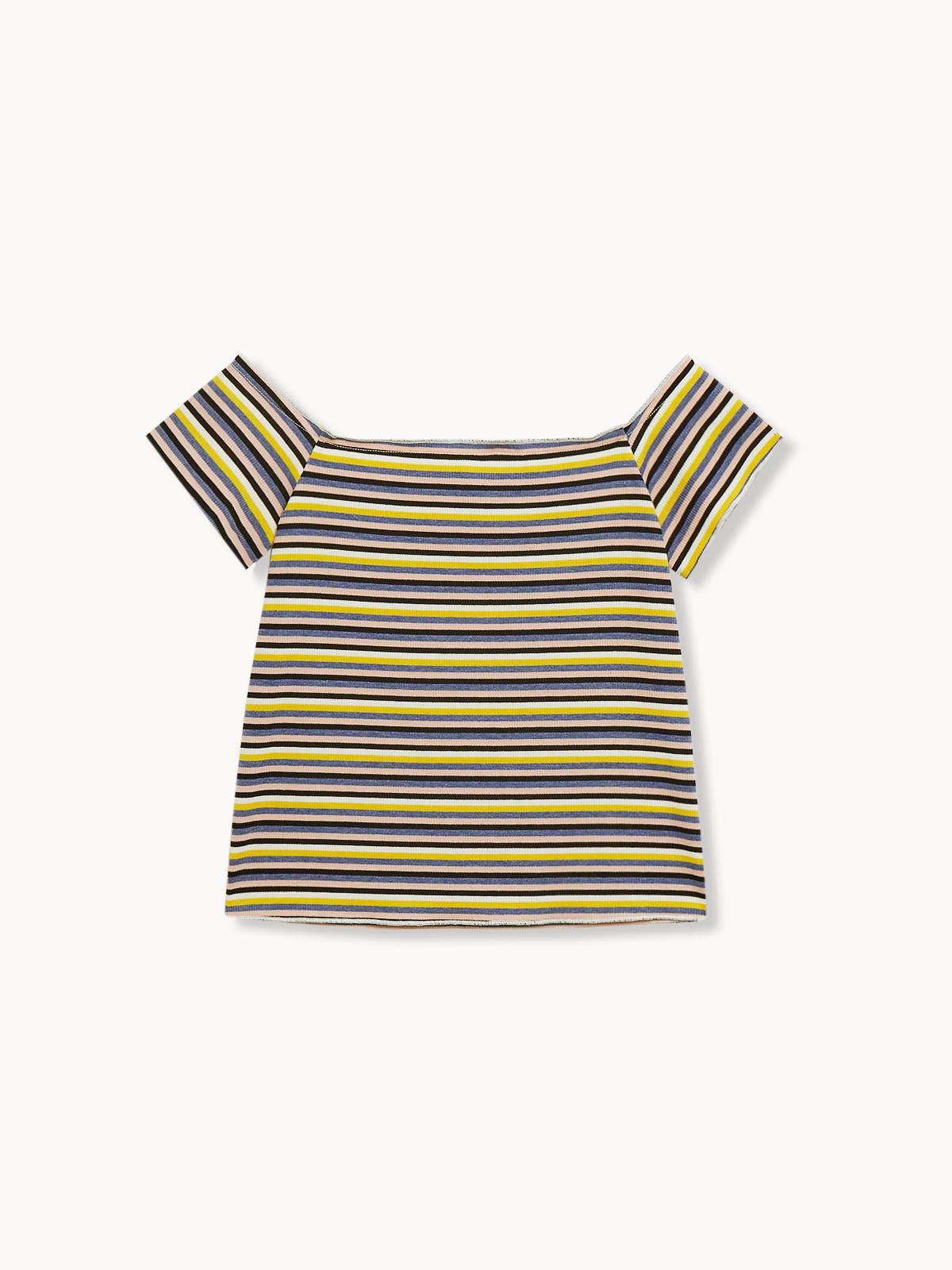 Stripe Off Shoulder Top Yellow