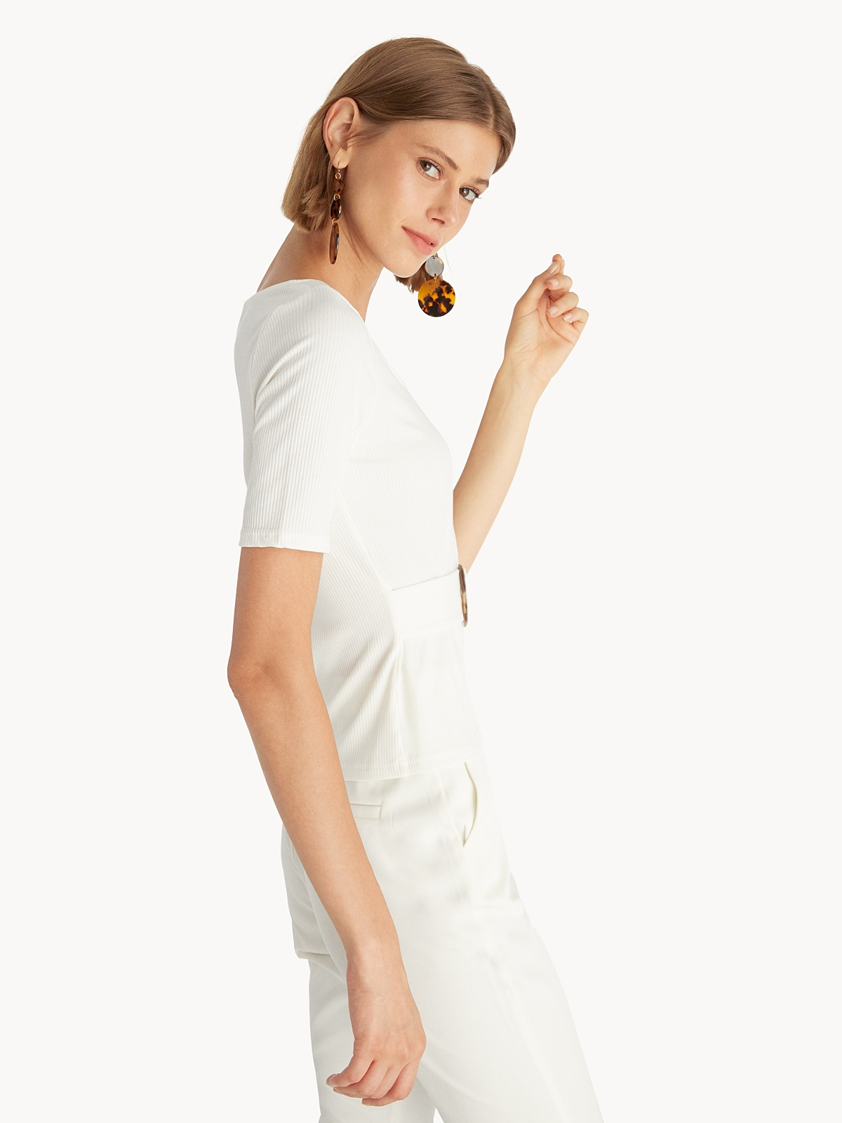 Belted Square Neck Blouse White