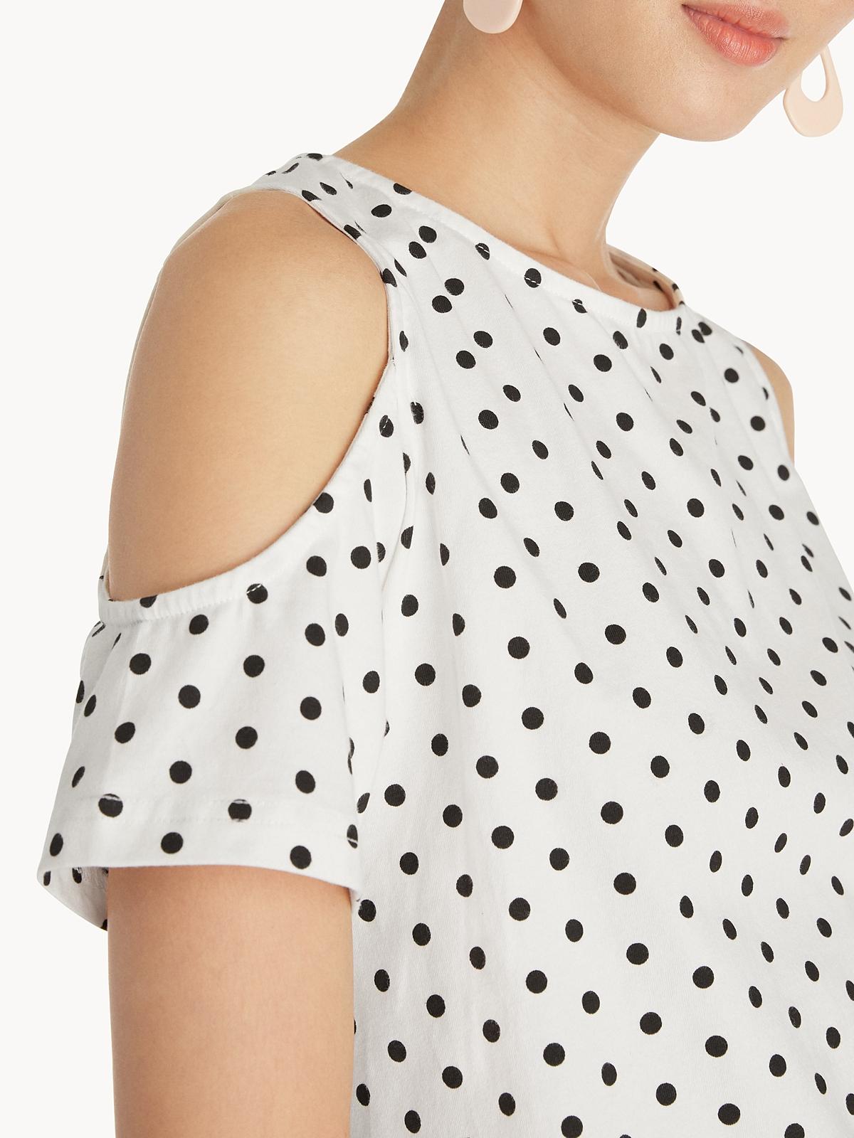 Cut Out Shoulder Blouse White