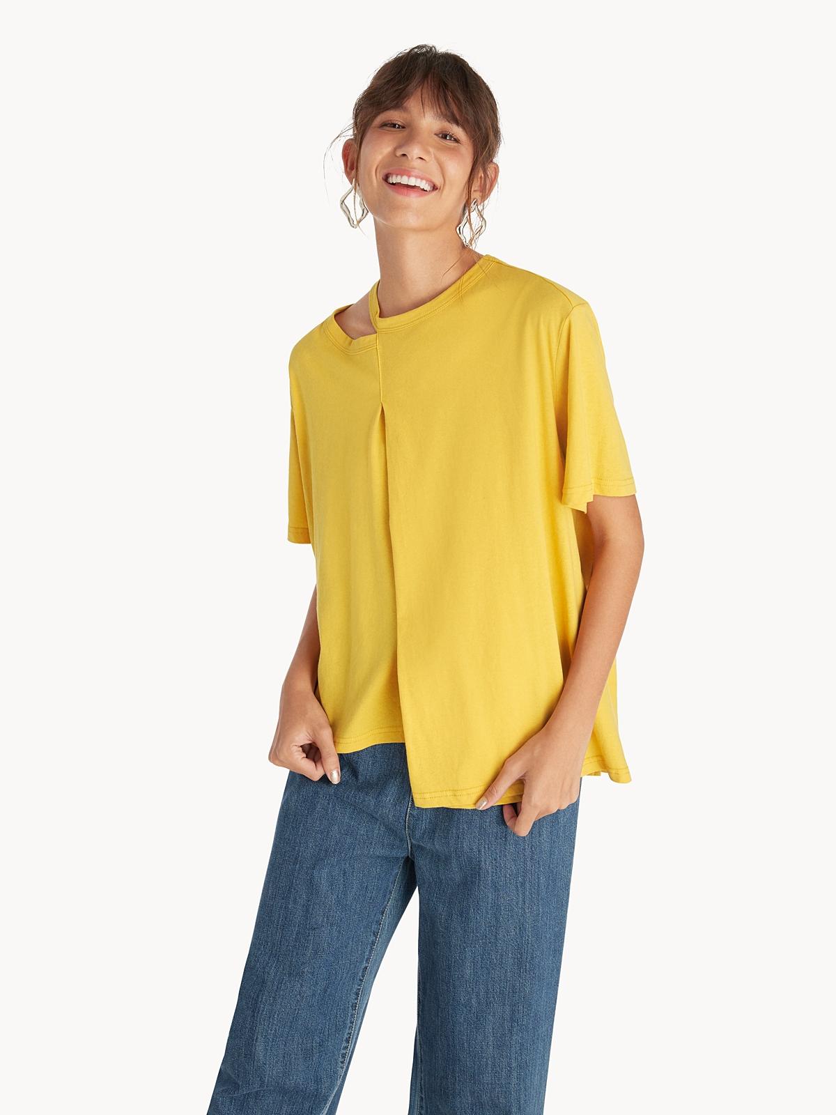 Cut Out Neck Asymmetric Top Yellow