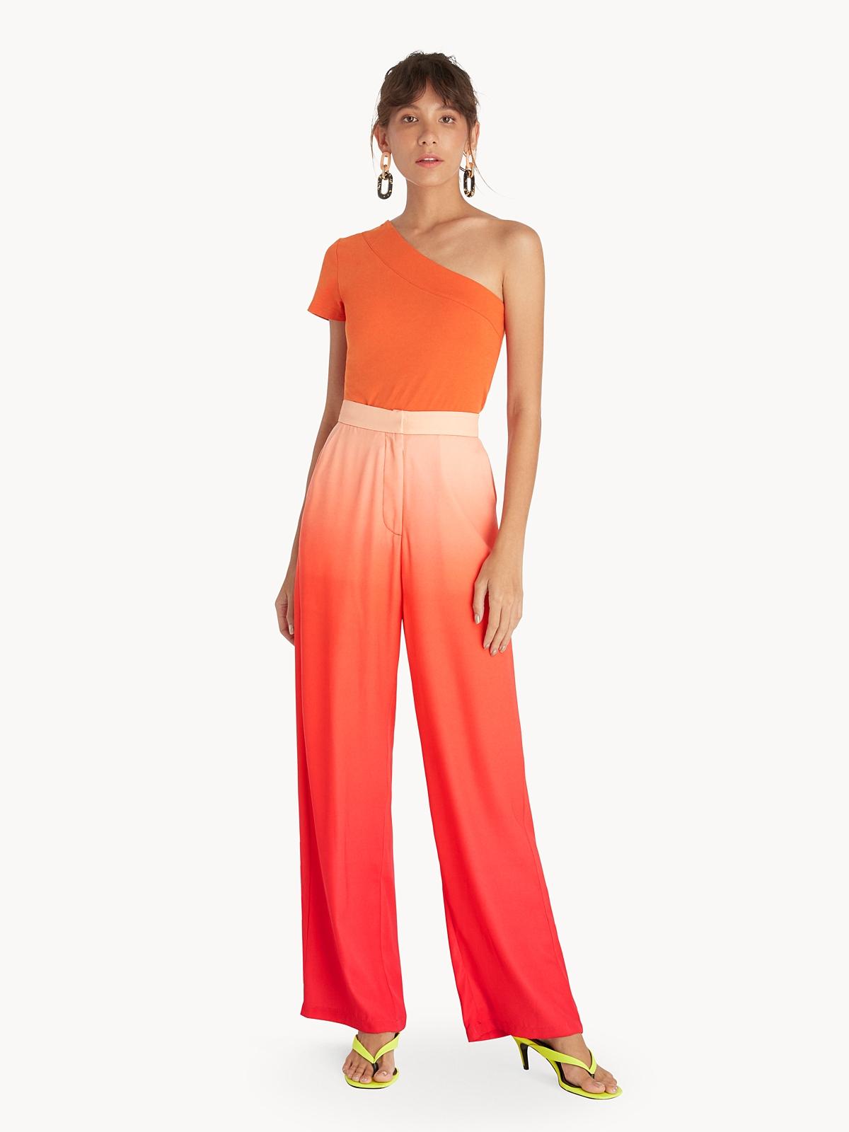 One Shoulder Slim Fit Top Orange