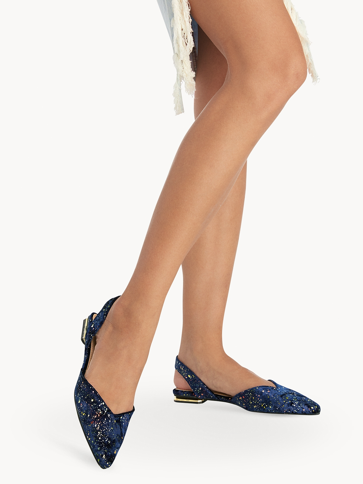 Rocket And Planet Stardusts Slingback Flats Blue