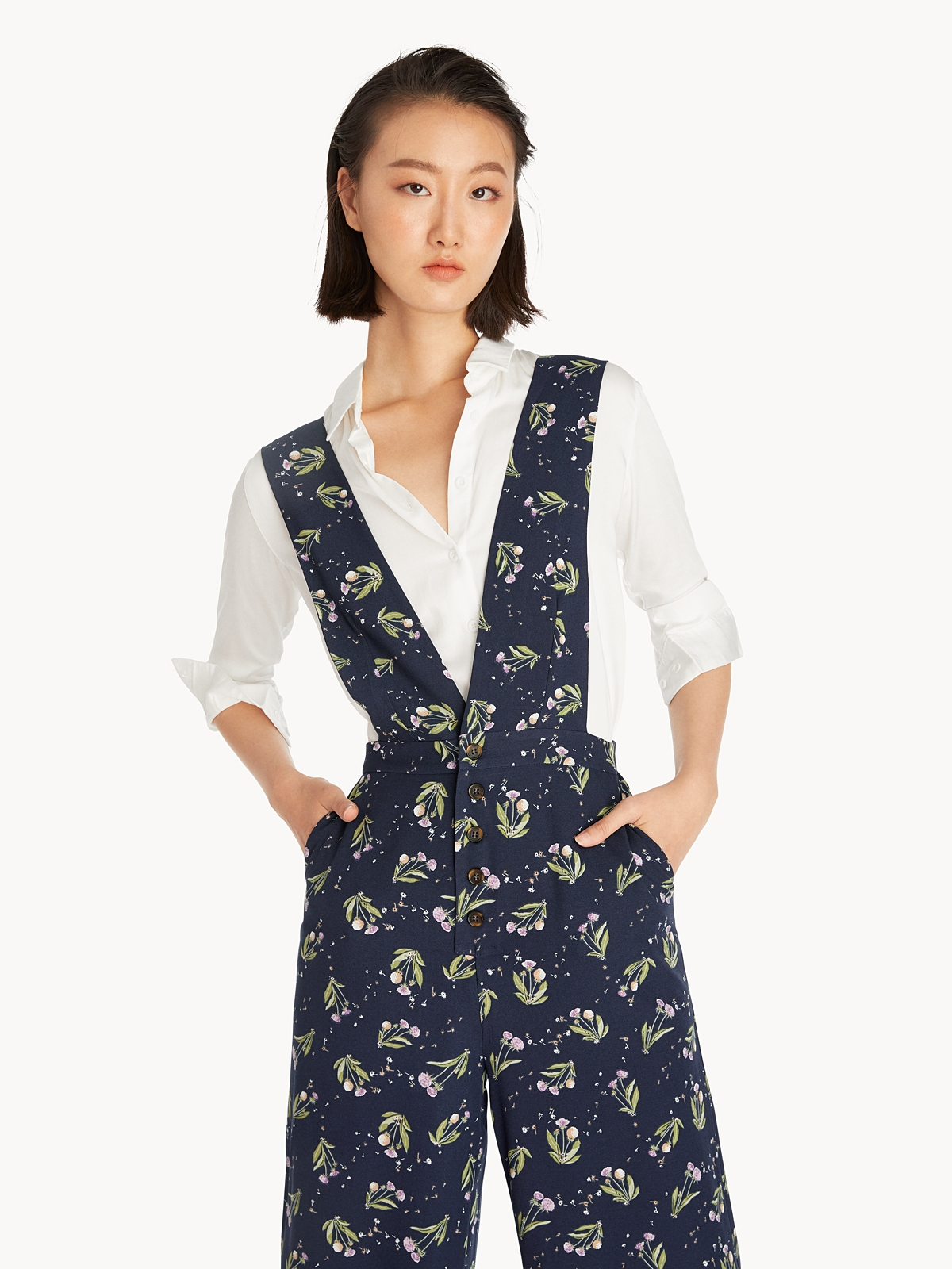Buttoned Floral Overall Navy