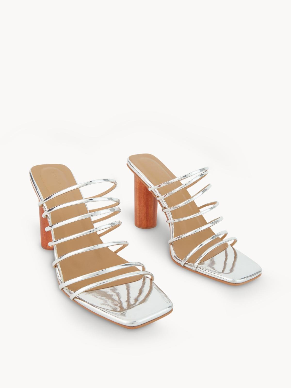 Blaze Candice Strappy Wooden Heels Silver