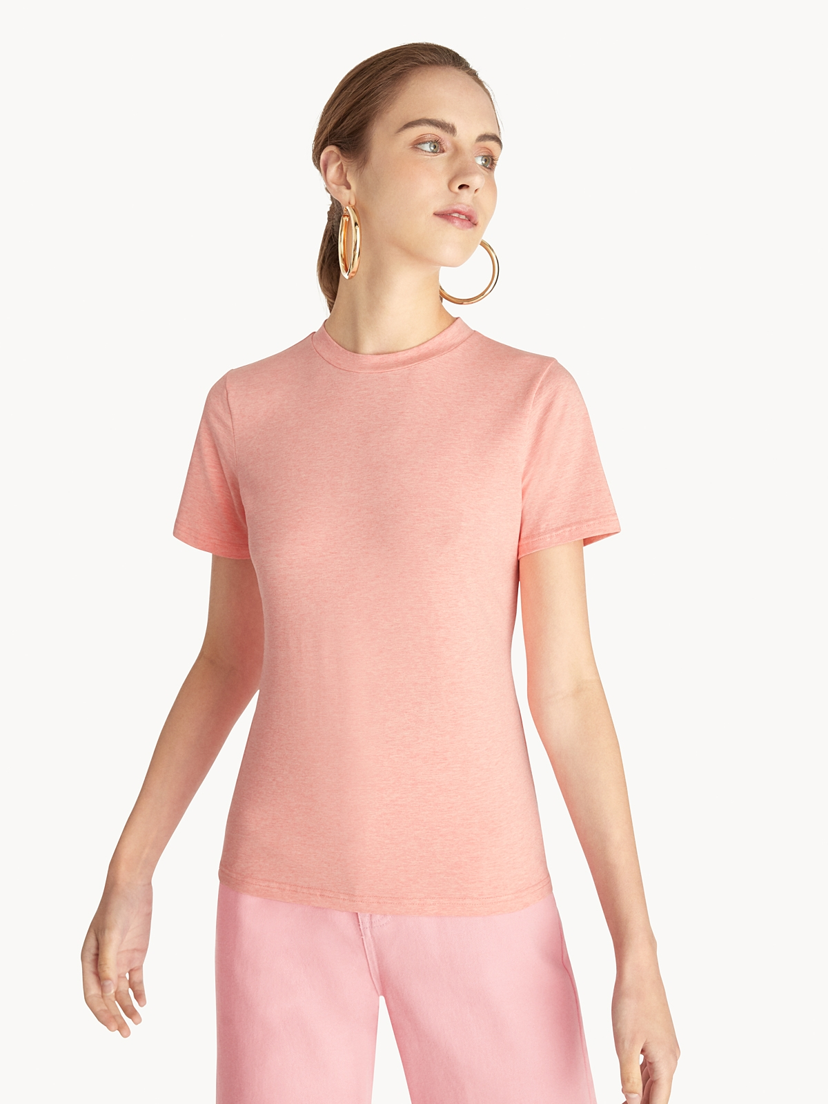 Open Cut Out Knotted Tee Coral Red