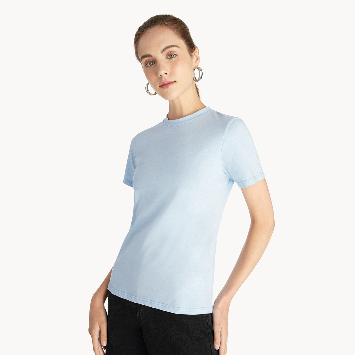 Open Cut Out Knotted Tee Blue