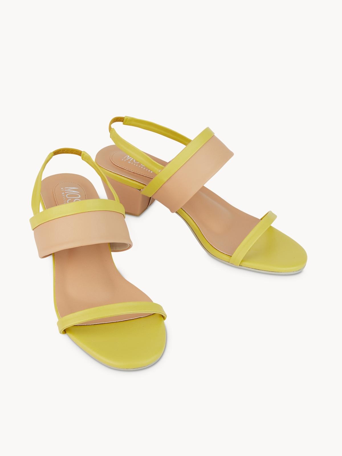 Mosstories Low Block Sandal Heels Yellow