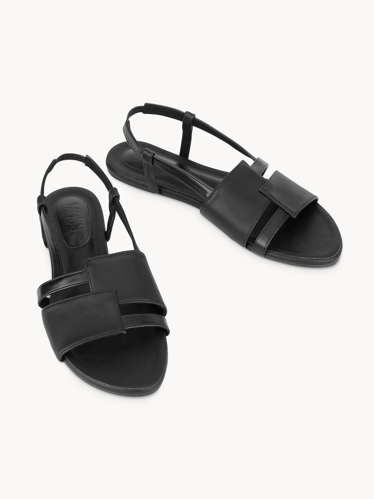 Mosstories Open Toe Flat Sandals Black