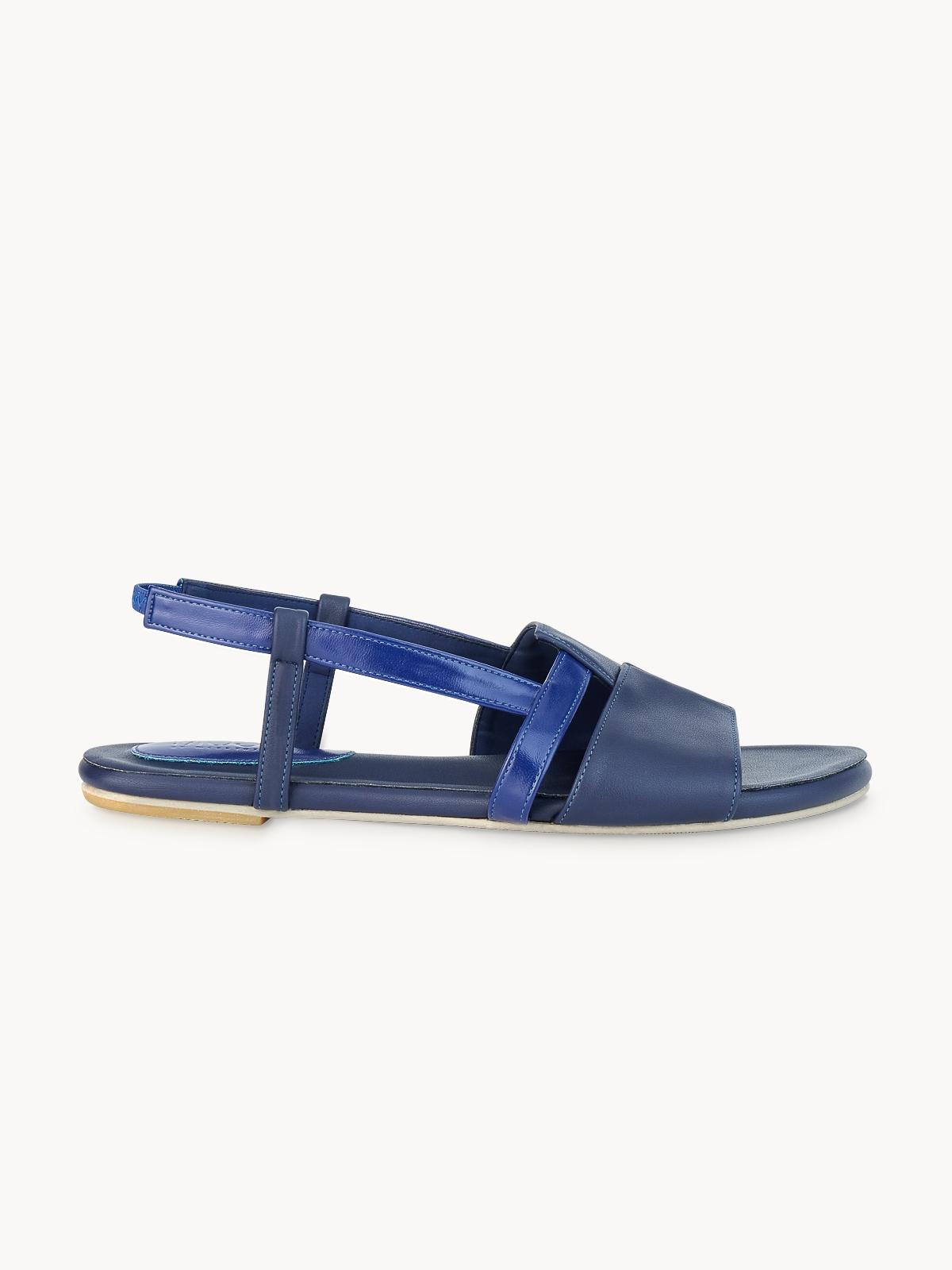 Mosstories Open Toe Flat Sandals Dark Blue