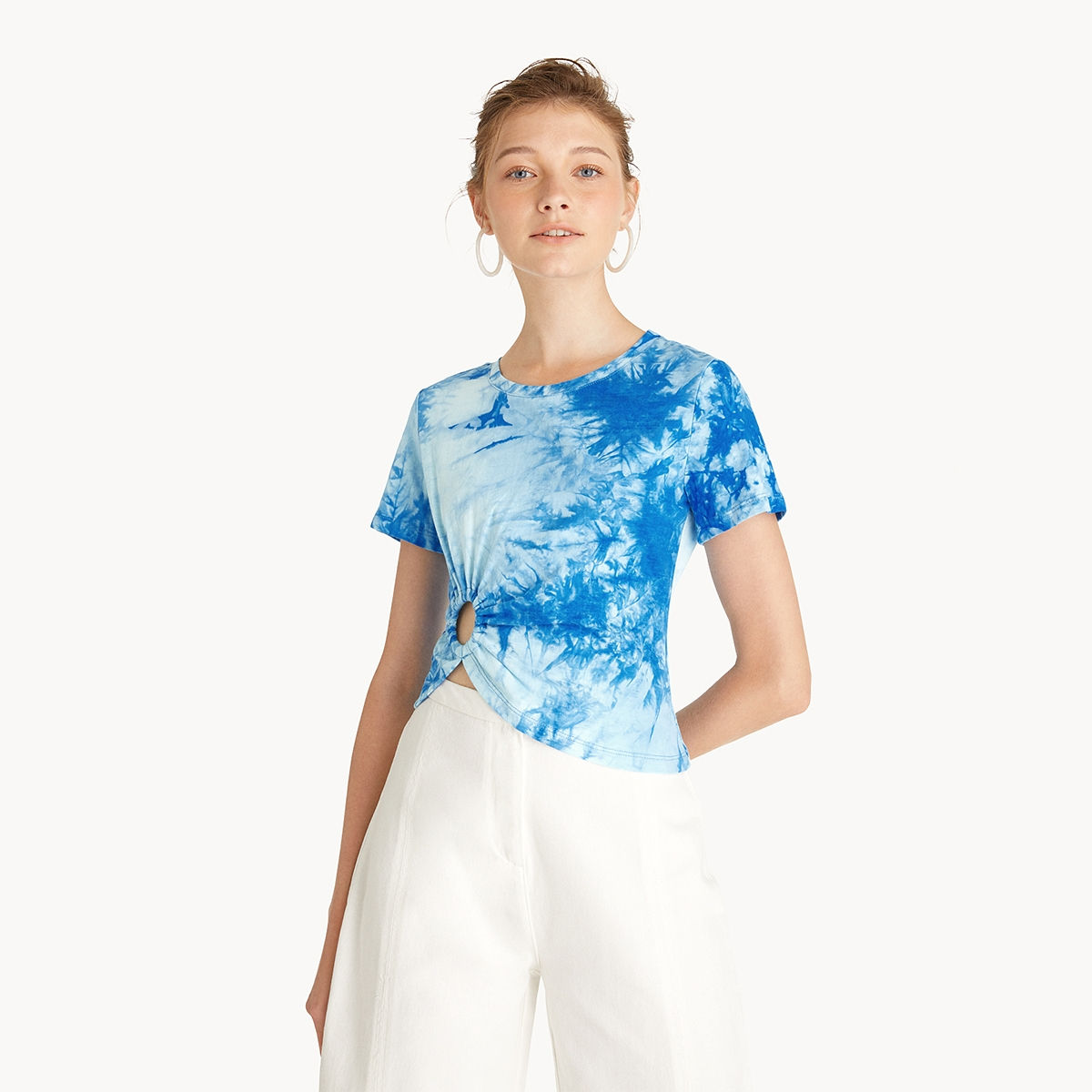 Tie Dye Cutout Tee Blue