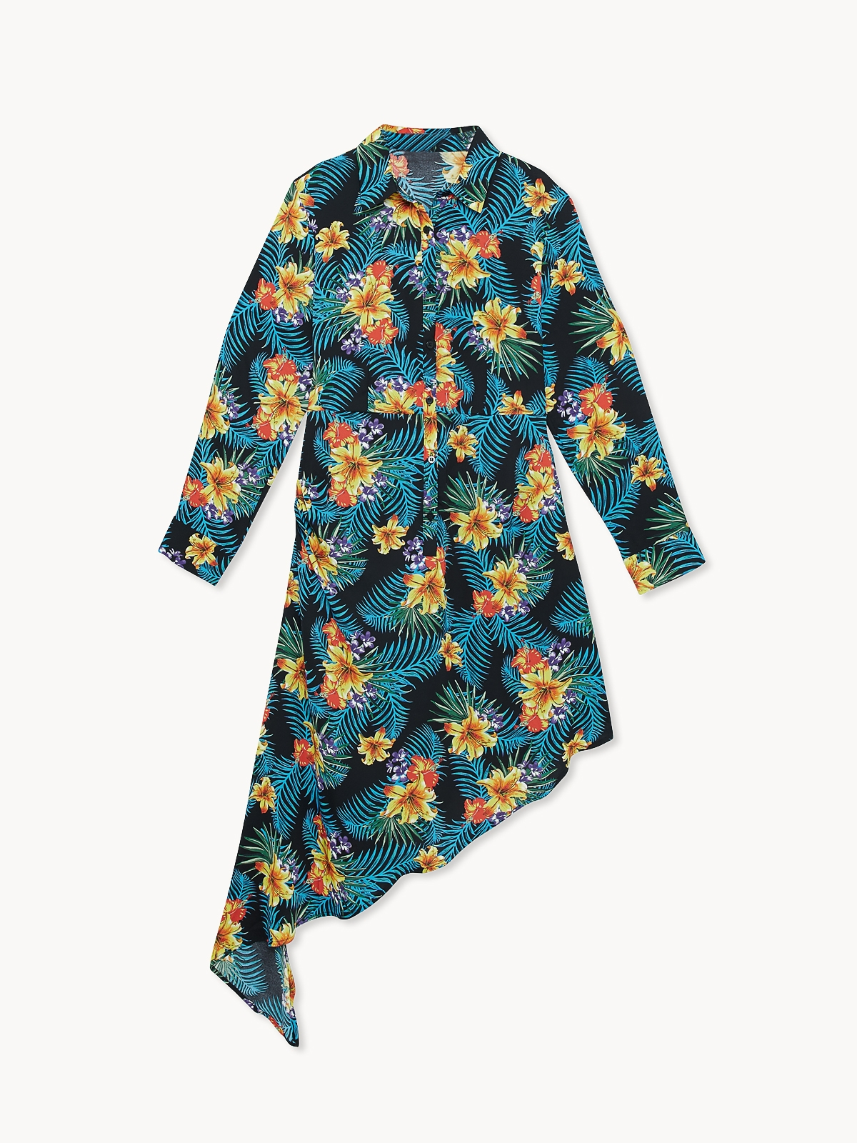 Floral Asymetrical Dress Black