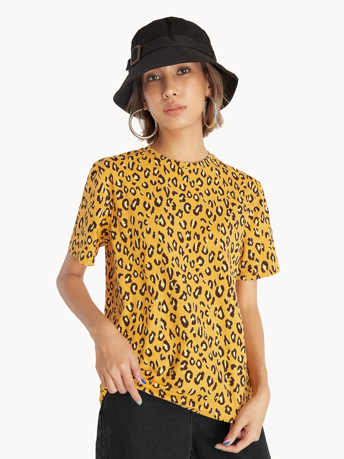 Round Neck Leopard Top Orange