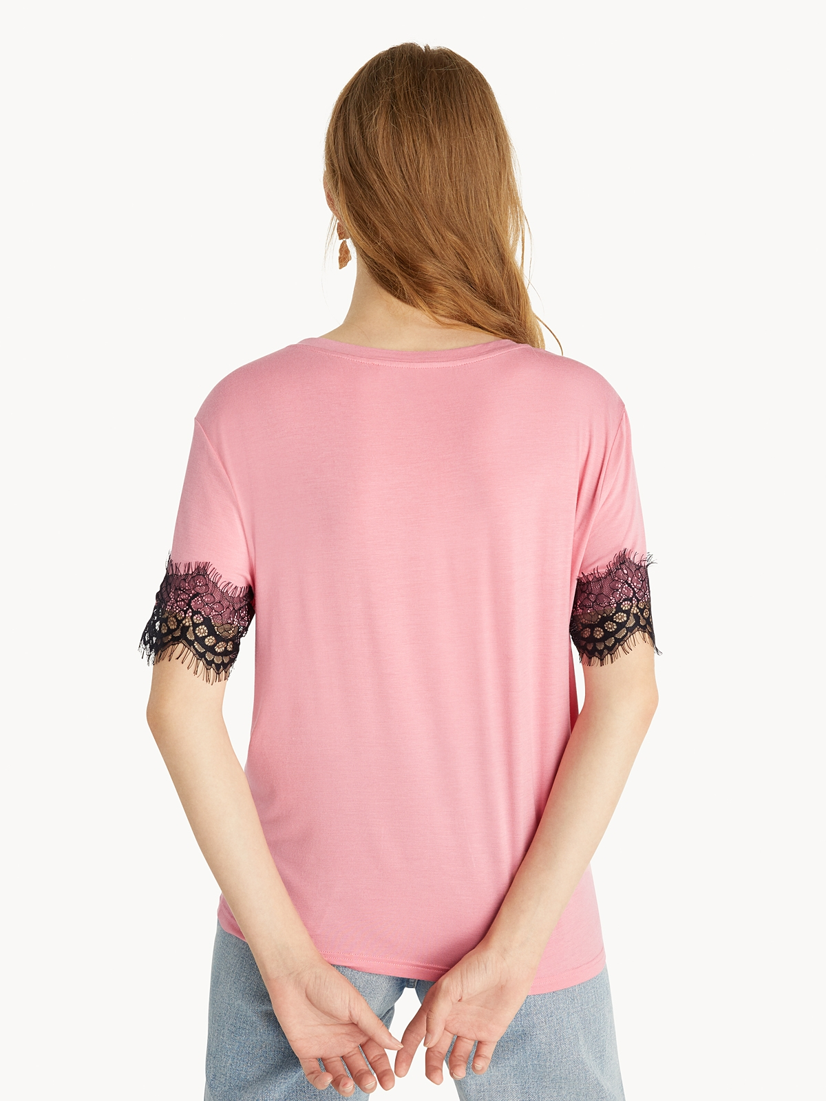 Lace Sleeve Tee Pink