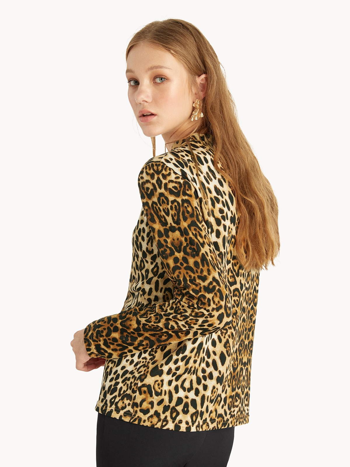 Jaguar Mock Neck Top Brown