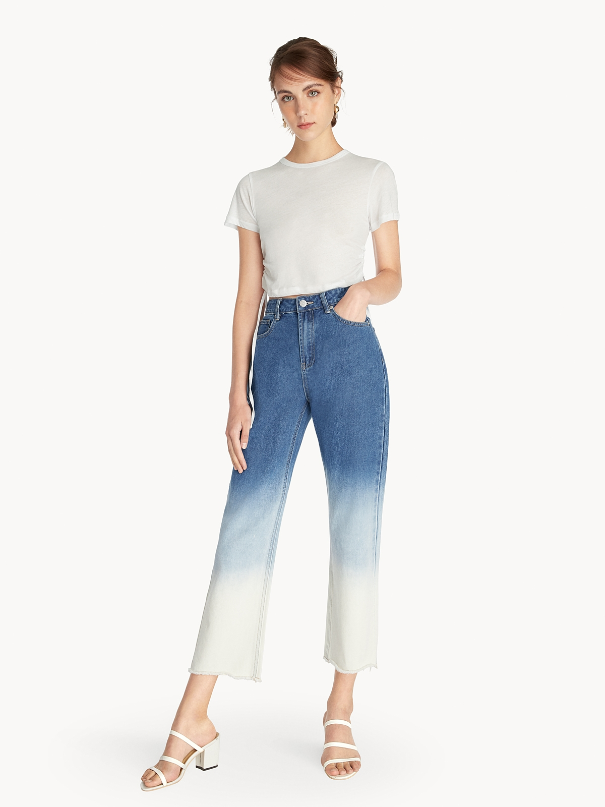 Side Ruched Crop Top White