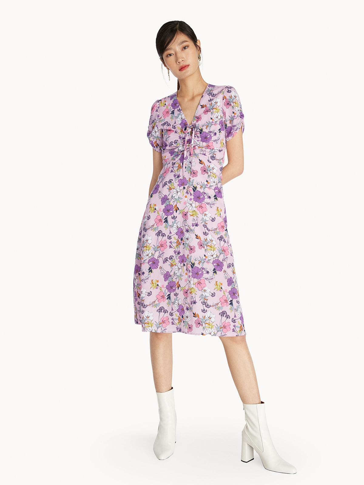 Midi Drawstring Front Floral Dress Pink