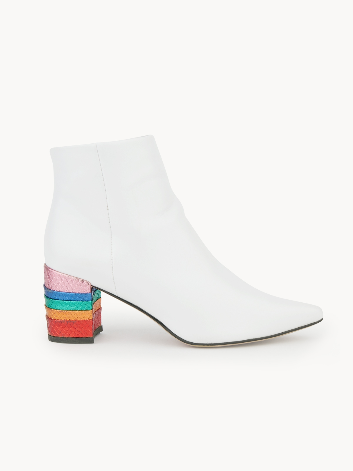 Pomelo x Darlin Rainbow Heel Boots White