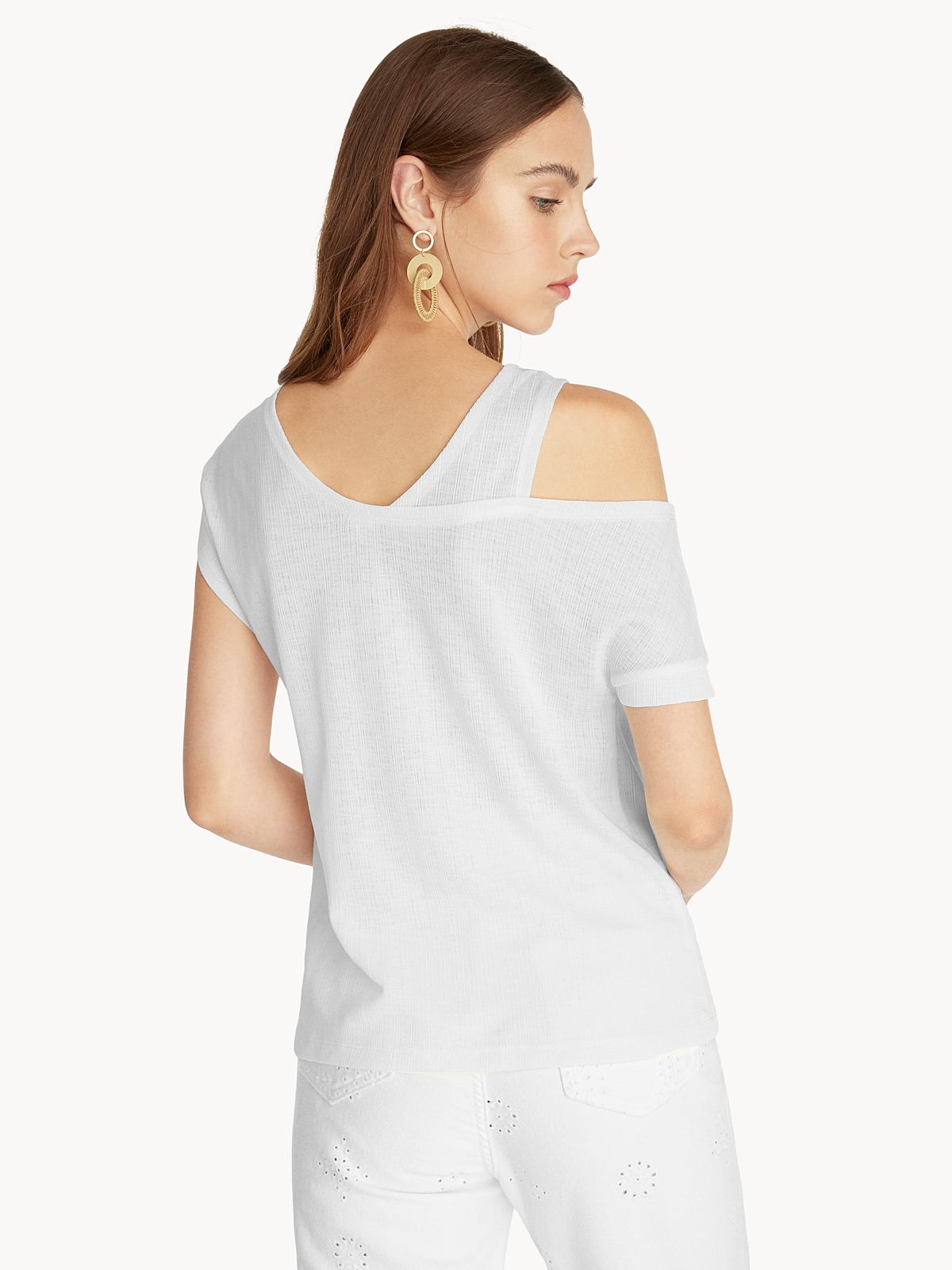 One Sided Off Shoulder Tee White