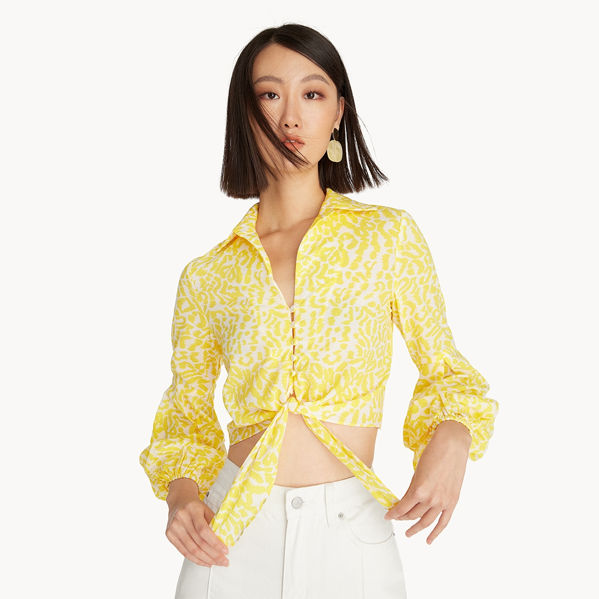 Front Tie Puff Sleeve Blouse Yellow