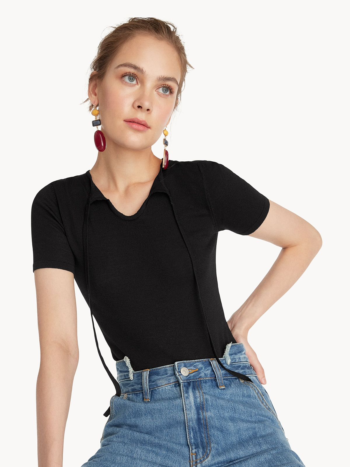Tied Neck Fitted Tee Black