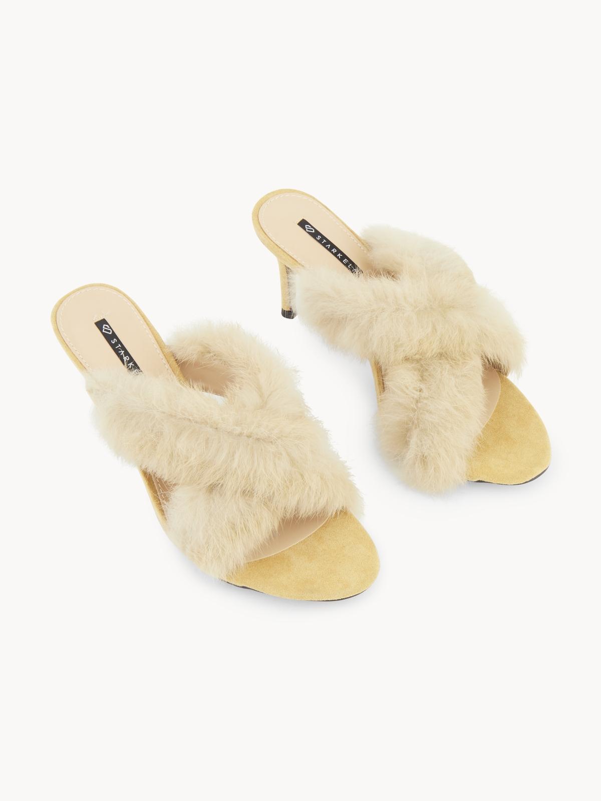 Starkela Furry Sandal Heels Beige