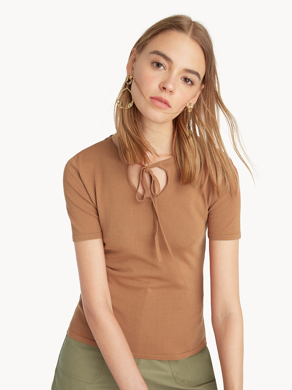 Tied Neck Fitted Tee Brown