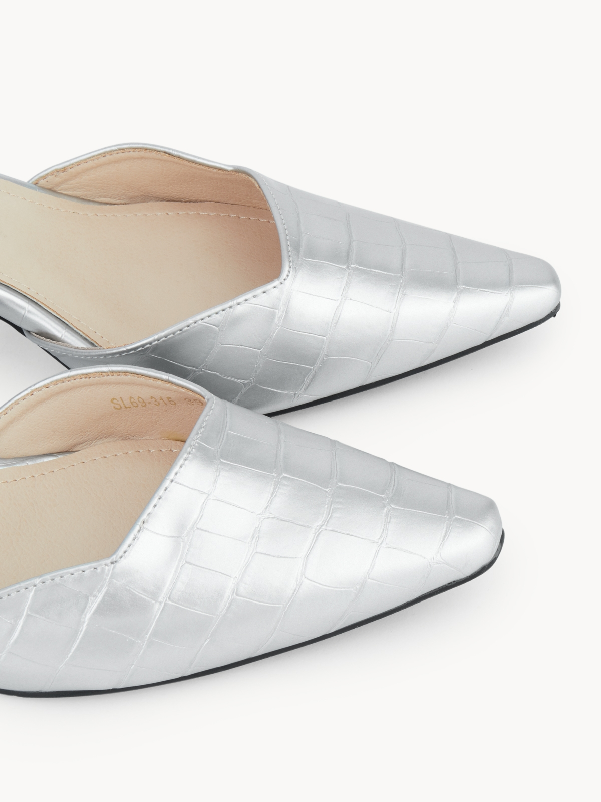 Starkela Round Cut Slingback Heels Silver
