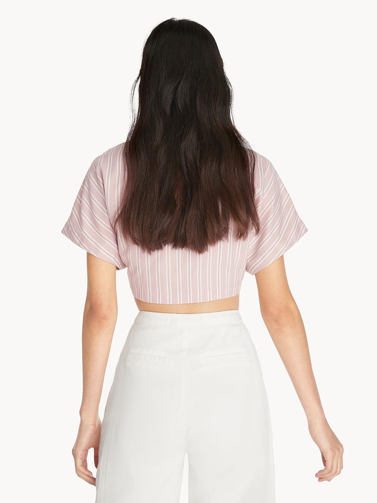 Waist Tie Crop Shirt Pink