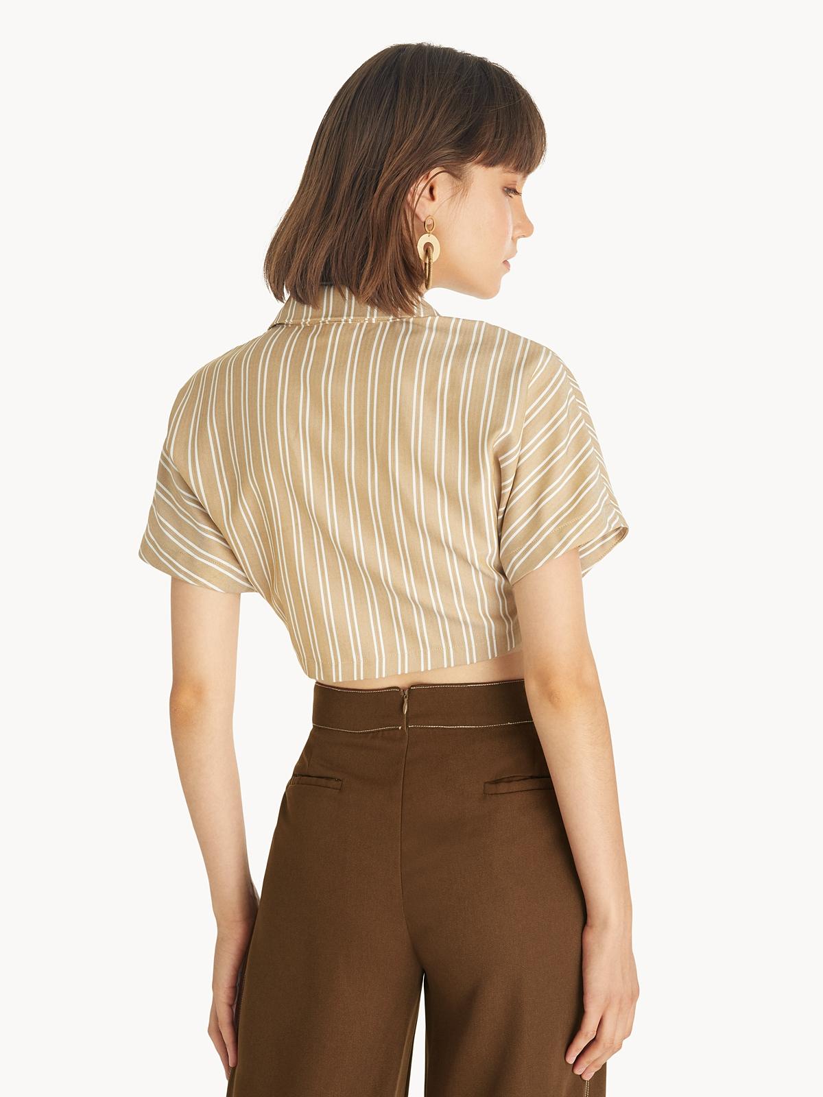 Waist Tie Crop Shirt Brown