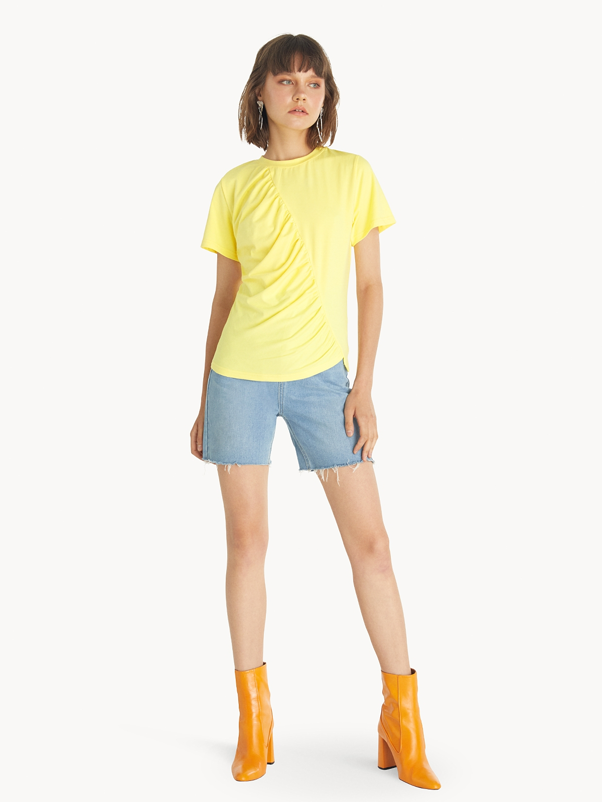 Crew Neck Ruched Tee Yellow